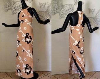 Vintage MOD Hawaiian Maxi Dress Vintage 1960s 1970s Cut Out Back Tiki Oasis Halter Dress Marimekko Style Flower Power Print Polynesian SM
