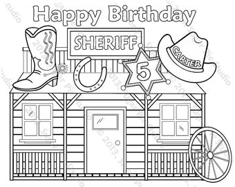 Personalized Printable Sheriff  Cowboy Cowgirl Birthday Party Favor childrens kids coloring page activity PDF or JPEG file