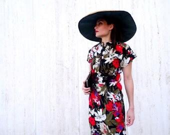 Vintage safari jungle dress 1980s dress