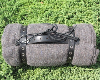 Gray Blanket Roll with brown Black leather eyelet straps for camping, motorcycles, decoration, horse riding