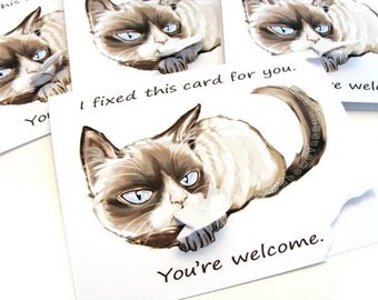 Grumpy Cat Card Set of 4 Cards, Funny Cards, Custom Message, Blank Cards, Personalized Name, Thinking of You, Birthday Card SALE