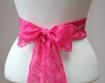 Fuchsia Pink Lace Wedding Simple Sash Flower Girl Sash/ Handmade Accessory
