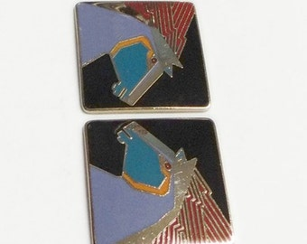 Laurel Burch STALLION Earrings - Black Background - Vintage