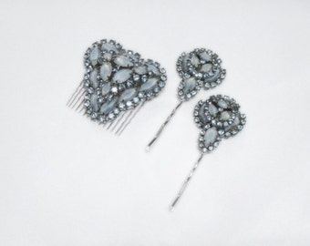 Blue Jeweled Hair Comb and Matching Bobby Pins - From 1950s Brooch and Earring Set - Vintage