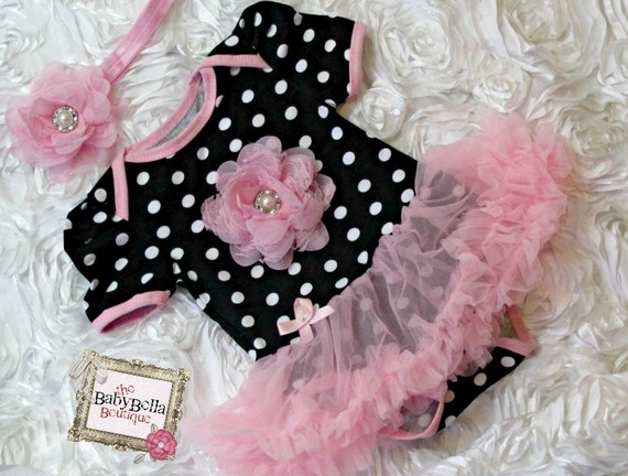 Black with pink polka dots baby tutu by TheBabyBellaBoutique