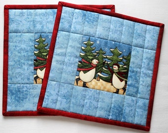 Blue Pot Holders Quilted, Christmas Hot Pad, Insulated, Fabric Trivet, Winter Potholders, Set of 2, Quiltsy Handmade