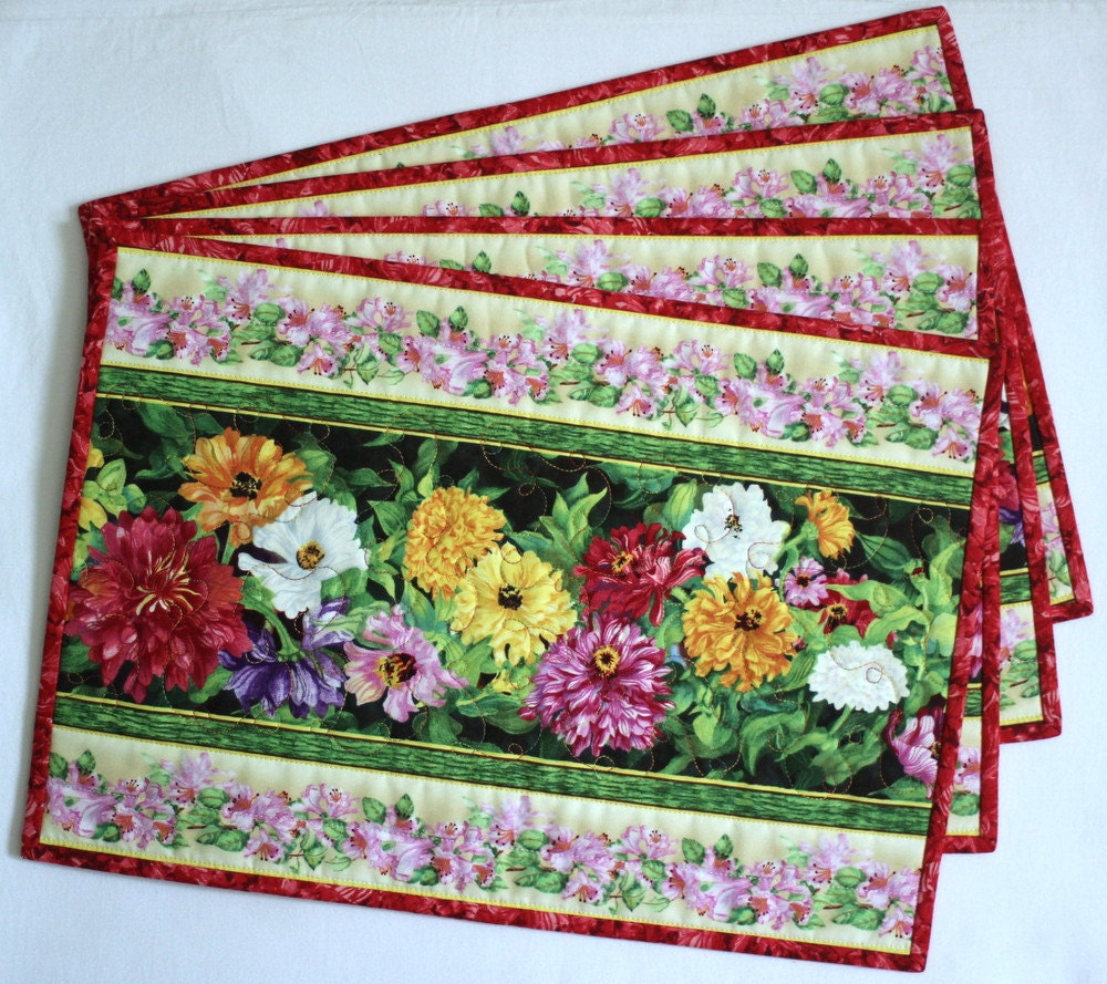 Quilted Placemats Table Mats Floral Placemats Spring