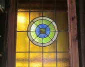 Salvaged Amber/Green Bulls Eye Stained Glass Window
