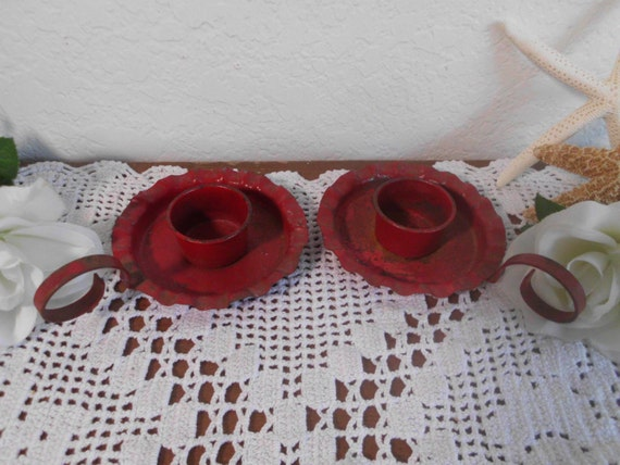 Vintage Rustic Red Candle Holder Set Retro Country Farmhouse Folk Art Log Cabin Home Decor Christmas Holiday Decoration Gift for Him Her