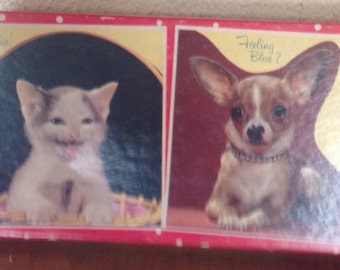 IVintage Box of Puppy's And Kittens Birthday And Get Well Greeting Cards