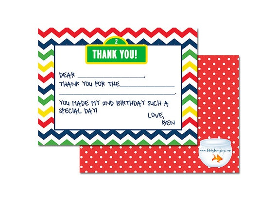 SESAME STREET Inspired Birthday , Fill-in Thank you note