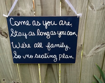 "Distressed Navy and White We""re All Family So No Seating Plan Wedding Sign Wooden Wedding Hanger"