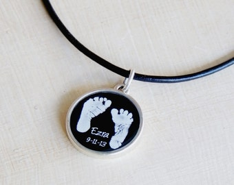 Daddy Necklace - Baby's Footprints - Footprint Necklace - Child's Footprints - Father's Day - New Dad - Memorial for Dad