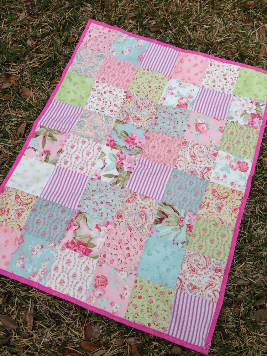 Cottage Baby Quilt Shabby Chic Patchwork Quilt By