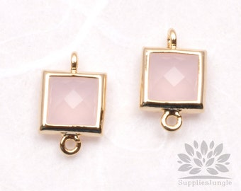 F140-G-IP// Gold Framed Ice Pink Faceted Square Glass Connector, 2 pcs