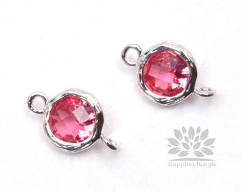F145-S-RB// Rhodium Framed Ruby Faceted Round Glass Connector, 2 pcs