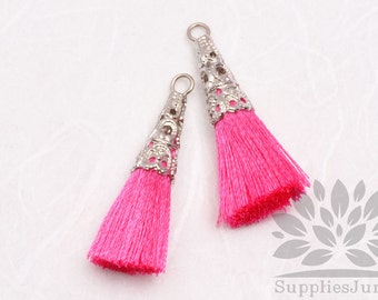 T003-01-R-HP// Original Rhodium Plated Cone Hot Pink 34mm Tassel Pendant, 2pcs