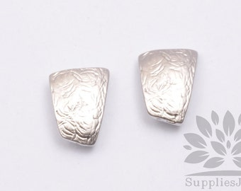 E224-MR// Matt Rhodium Plated Simple Trapezoid Post Earring, 2pcs