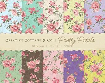 Rose Print Florals, Vintage Digital Papers for Blogging and Scrapbooking