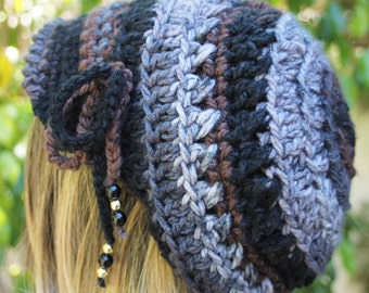 Slouch Hat  adult teen rich colors of black brown gray with Tie