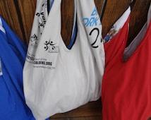 PDF pattern for T-shirt bag. Re-Cycle. Re-use. Re-Purpose shopping bag pattern