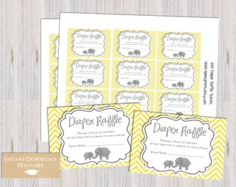 Yellow and Gray Chevron Elephant Printable Diaper Raffle Tickets for Baby Shower INSTANT DOWNLOAD