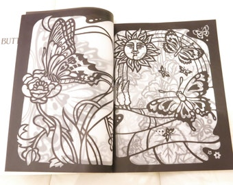 Vintage 1985 Butterfly Stained Glass Coloring Book Arts And Crafts