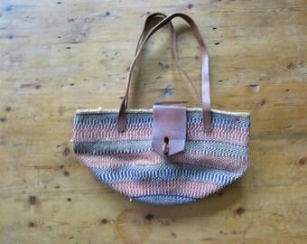 Vintage Sisal Ethnic African Handwoven Jute and Leather Market Handbag/Puse/Tote