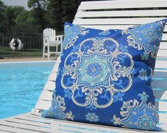 """Outdoor Pillows, Blue OUTDOOR Pillows,Patio Decor, 20"""" x 20"""" Throw Pillow, Patio Pillows, Outdoor Medallion Pillows, Pillow Covers"""