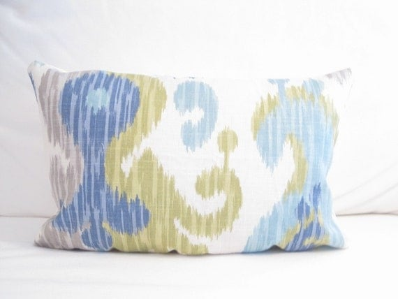 ikat lumbar pillow cover blue chair pillow 12x18 inch decorative