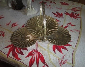 Silver Plate Tri Shelll dish folds into one and opens into three serving dishes