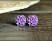Ribbon Flower Earring Studs, Multiple Colors Available