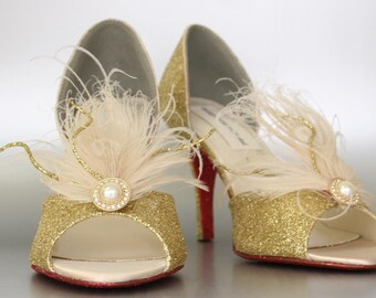 Gold Wedding Shoes -- Gold Glitter Peeptoes with Ivory and Gold Feather Adornment and Red Glitter Sole