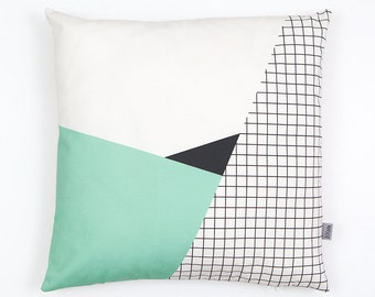 Memphis Milano Cushion Cover, organic cotton pillow case, decorative cushion, mint, grid, Geometric Cushion, home decor, Depeapa