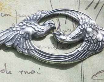 Double Bird Brass Stamping, Sterling Silver Ox Finish, Neo Victorian