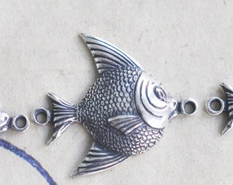 THREE brass fish jewelry connectors, Sterling Silver Ox Finish