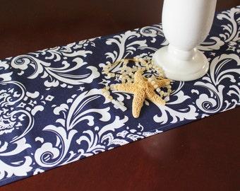 Navy Blue Table Runner Table Cloth Wedding Runner Buffet Premier Prints Ozborne Damask Buffet Runner