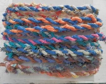 Fabric Twine - Hand Twisted - Cotton - 5 yds. - Full of Color for Trim, Crochet, Knit