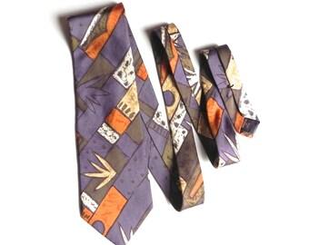 Garrison Silk Men's Necktie in Lavender, Light Orange, Taupe, and Cream