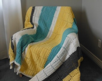 Yellow and Blue Afghan