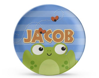 Personalized Plate, Personalized Frog Plate, Child's Birthday, Cake Plate, Melamine Dish