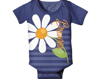 Personalized Daisy Baby Bodysuit, Baby Girl Romper, Custom Infant One-Piece