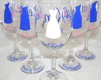 9 Personalized Bride and Bridesmaids Wine Glasses