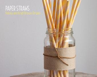25 Yellow and Kraft Brown Striped Paper Straws - Standard 7.75'' / 19.68cm
