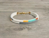 "Leather Bracelet in White with Taupe, Copper & Turquoise | ""The Pecos Handpainted"""