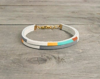 """Leather Bracelet in White with Taupe, Copper & Turquoise 