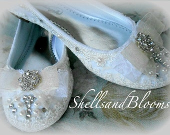 Wedding Bridal Ballet Flats Shoes  - Rhinestone crystals and Pearls - Embellished - bridesmaids - diva bling - white or ivory