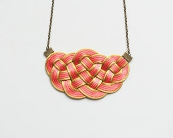 Coral necklace, coral and gold necklace, knot necklace, knotted necklace, woven necklace, fiber necklace, statement necklace, spring trends