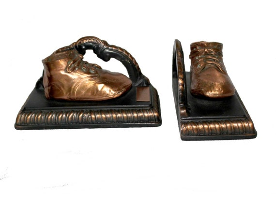 Baby shoes Bookends- great vintage Mid Century style in bronzed copper