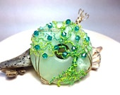 AMAZING SALE - 15 Dollars OFF - Tree of Life Pendant - Wire Wrapped - Green and Turquoise - Swarovski Crystals and Peridot - New Jade